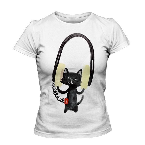 تیشرت دخترانه Cat With Huge Headphone