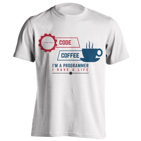 تیشرت طرح code and coffee