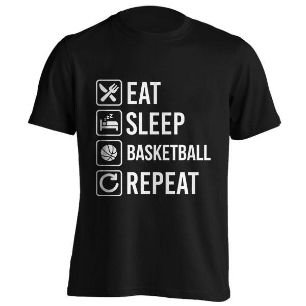 تیشرت طرح Basketball Eat Sleep Repeat