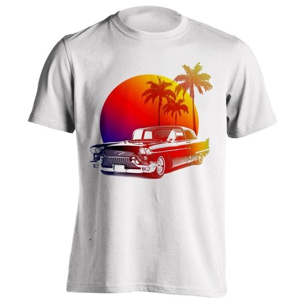 تیشرت طرح Sunset classic car