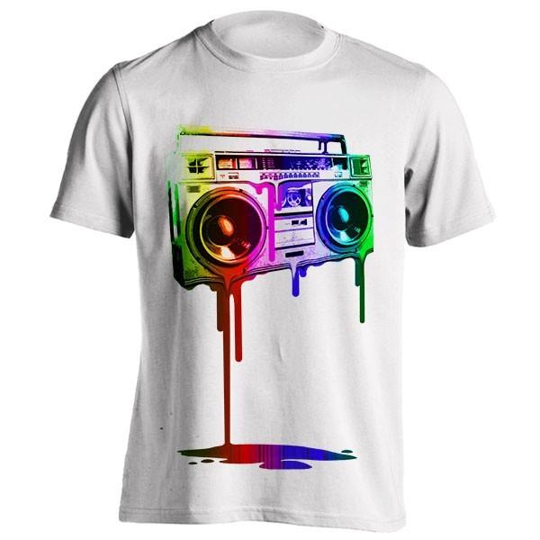 تیشرت طرح Melting Boombox (digital rainbow look)