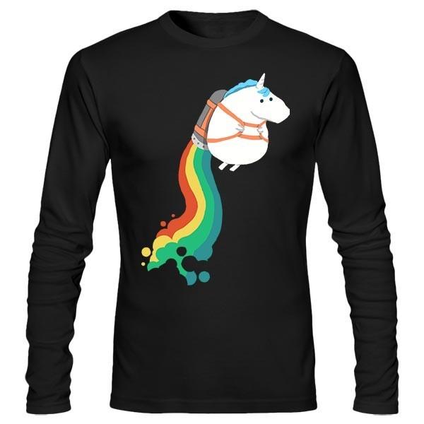 تیشرت آستین بلند طرح Unicorn on rainbow jet pack