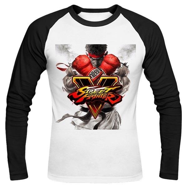 تیشرت آستین بلند رگلان طرح Street Fighter V