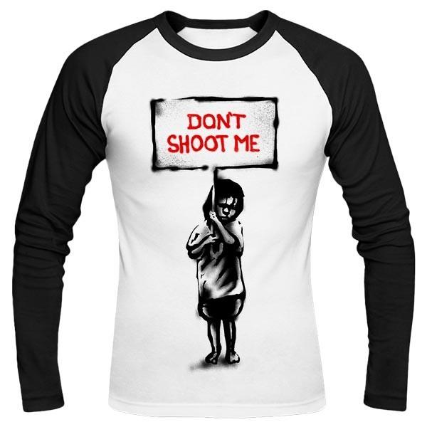 تیشرت آستین بلند رگلان طرح Dont shoot me