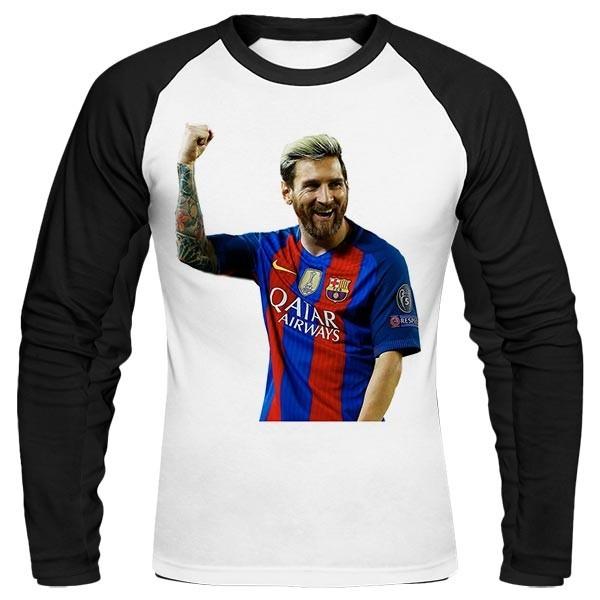 تیشرت آستین بلند رگلان طرح New Messi