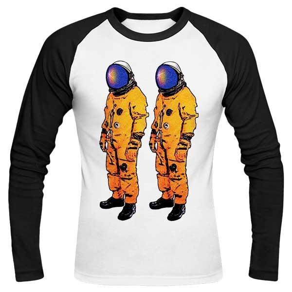 تیشرت آستین بلند رگلان طرح Twin Astronauts