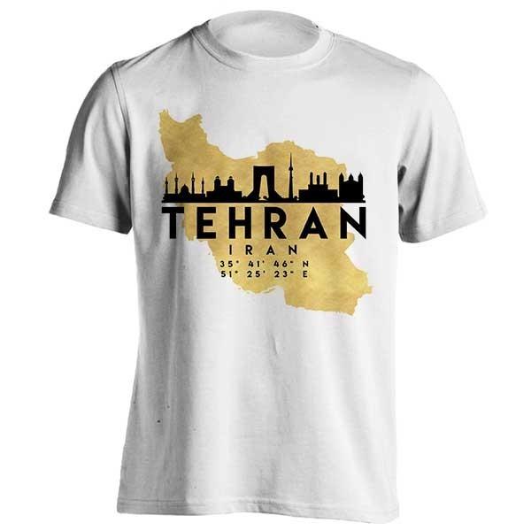 تیشرت طرح Tehran Skyline Map Art