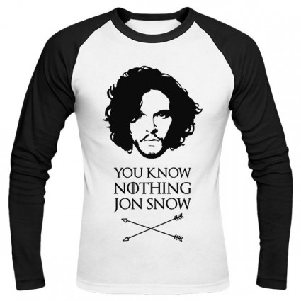 تیشرت آستین بلند رگلان You Know Nothing Jon Snow