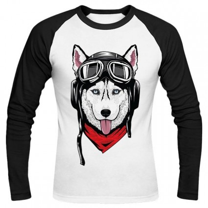 تیشرت آستین بلند رگلان Husky with Helmet