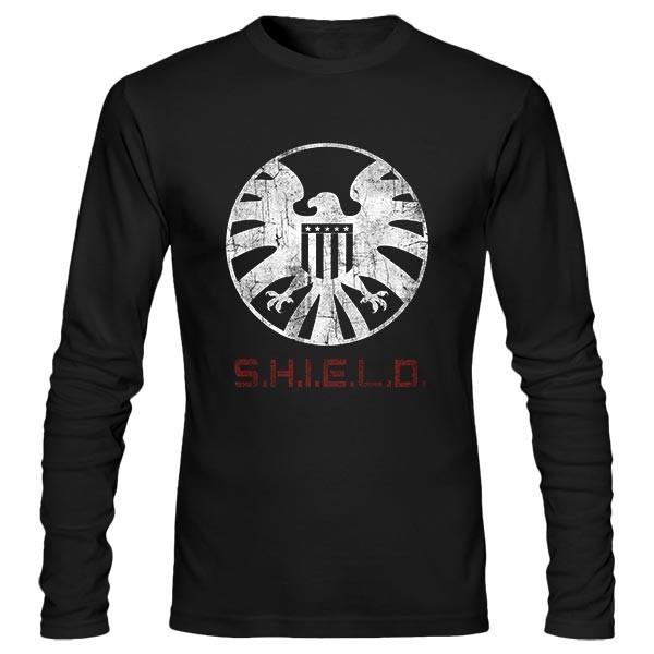 تیشرت آستین بلند Distressed S.H.I.E.L.D Logo
