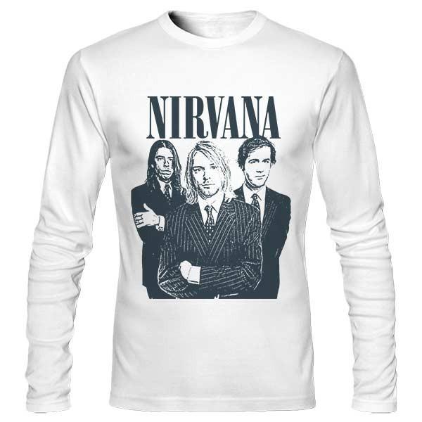 تی شرت آستین بلند طرح گروه نیروانا
